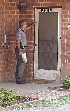 A Constable knocking at a residence to serve a subpoena